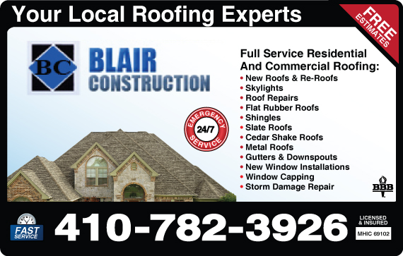 Exclusive Ad: Blair Roofing & Construction LLC  4106705710 Logo
