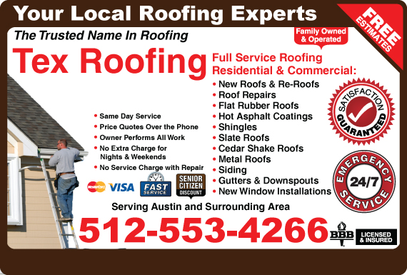 Exclusive Ad: Tex Roofing  5126476379 Logo