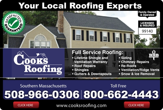 Exclusive Ad: Cook's Roofing  5089660306 Logo