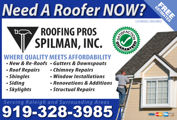 Exclusive Ad: Roofing Pros Spilman, Inc.  9195100280 Logo