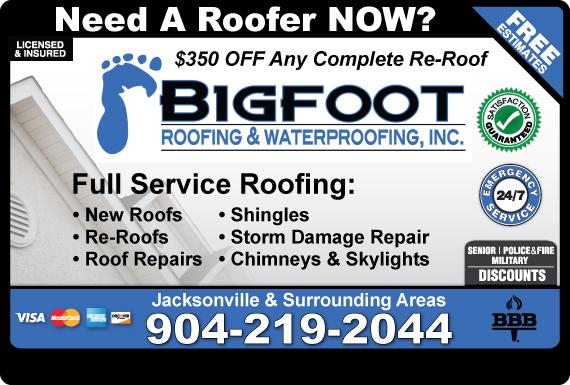 Exclusive Ad: Bigfoot Roofing & Waterproofing, Inc.  9042192044 Logo