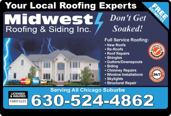 Exclusive Ad: Midwest Roofing & Siding Inc.  6305545210 Logo