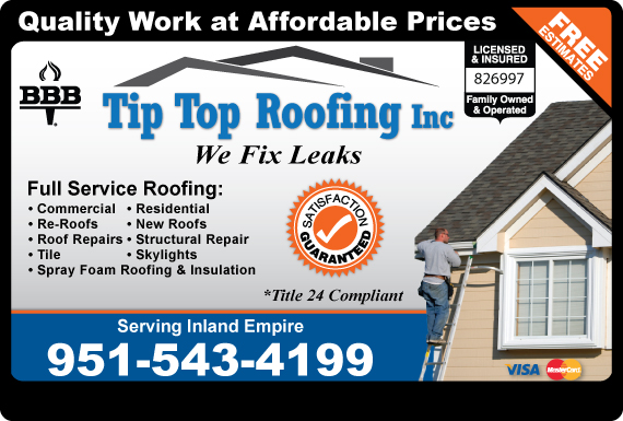 Exclusive Ad: Tip Top Roofing Inc  9514854080 Logo