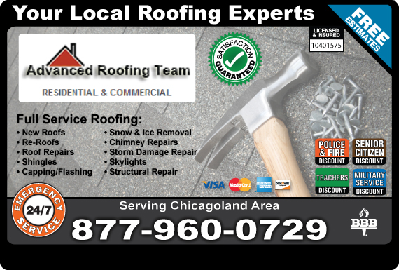 Exclusive Ad: Advanced Roofing Team Rolling Meadows 8479456565 Logo