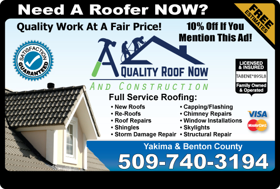 Exclusive Ad: A Quality Roofing Now Grandview 5097240720 Logo