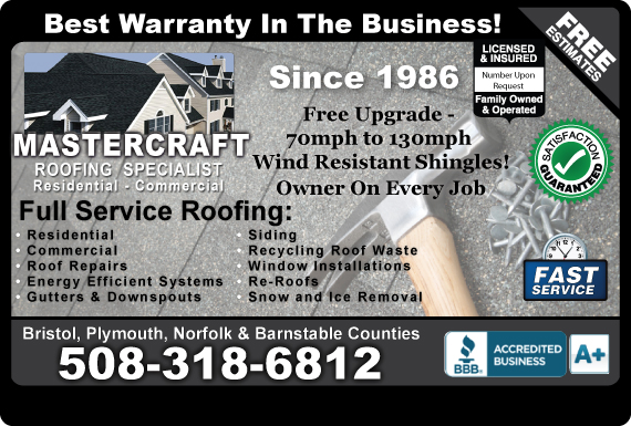 Exclusive Ad: Mastercraft Roofing  6178586270 Logo