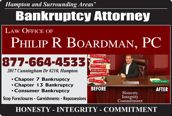 Exclusive Ad: Law Office of Philip R Boardman, PC Hampton 8775182861 Logo