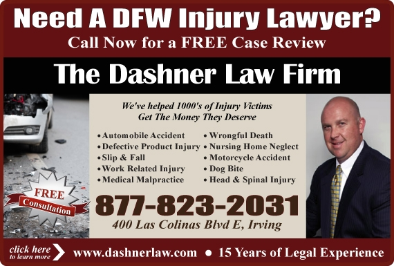 Exclusive Ad: The Dashner Law Firm Irving 8778232031 Logo