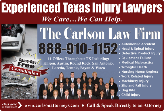 Exclusive Ad: The Carlson Law Firm PC - toll free tracking San Antonio 2545265688 Logo