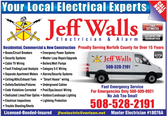 Exclusive Ad: Jeff Walls Electrician & Alarm  5085282191 Logo