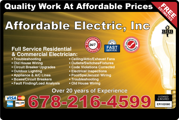 Exclusive Ad: Affordable Electric  6784087050 Logo