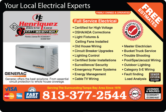 Exclusive Ad: Henriquez Electric  8133759290 Logo