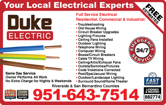 Exclusive Ad: Duke Electric  9512213230 Logo
