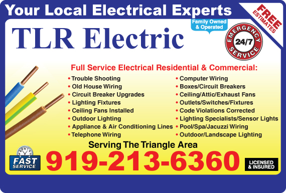 Exclusive Ad: TLR Electric  9192136360 Logo