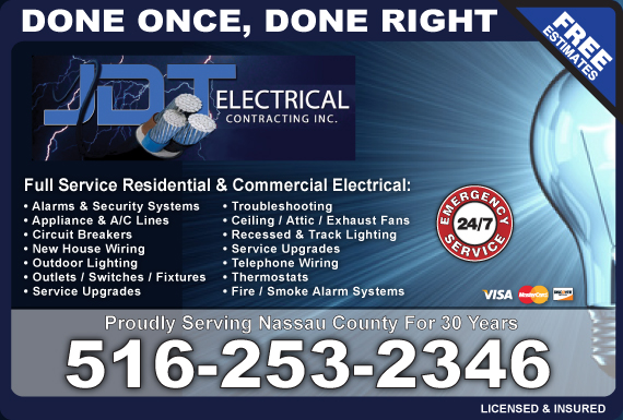 Exclusive Ad: JDT Electrical Contractors Inc. Oceanside 5165931218 Logo