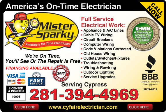 Exclusive Ad: Mister Sparky Electrical - Cypress  2813944969 Logo