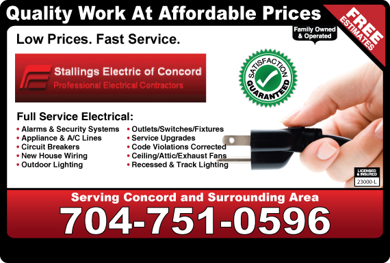 Exclusive Ad: Stallings Electric  7044893150 Logo