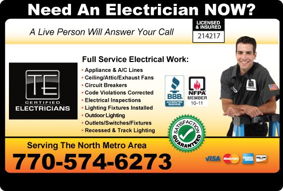 Exclusive Ad: TE Certified Electrician Alpharetta 7702177527 Logo