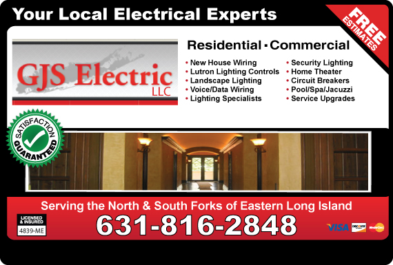 Exclusive Ad: GJS Electric LLC Mattituck 6316020310 Logo
