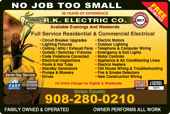 Exclusive Ad: R. K. Electric Co Matawan  Logo