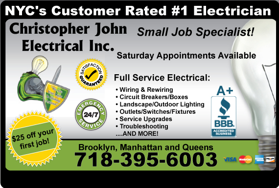 Exclusive Ad: Christopher Jon Electrical Inc.  7187154522 Logo