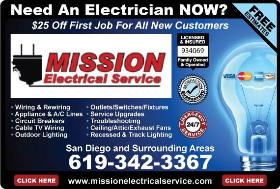 Exclusive Ad: Mission Electrical Service  6193423367 Logo
