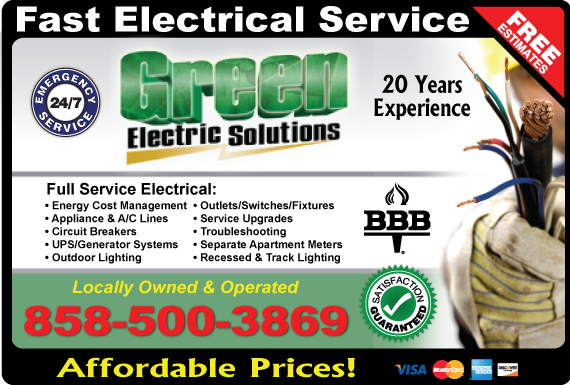 Exclusive Ad: Green Electric Solutions San Diego 6193249941 Logo