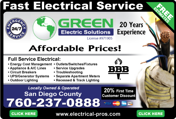 Exclusive Ad: Green Electric Solutions (760)  7602370888 Logo