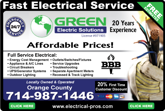 Exclusive Ad: Green Electric Solutions (714)  7149871446 Logo