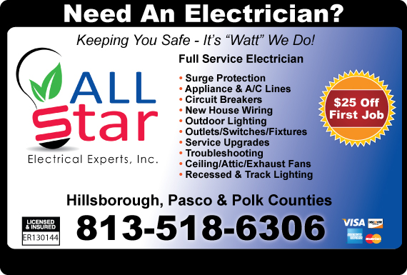 Exclusive Ad: Allstar Electrical Experts - 813 Tampa 8132798540 Logo