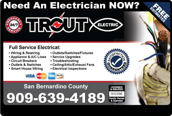 Exclusive Ad: Trout Electric-San Bernadino/909  9517430702 Logo