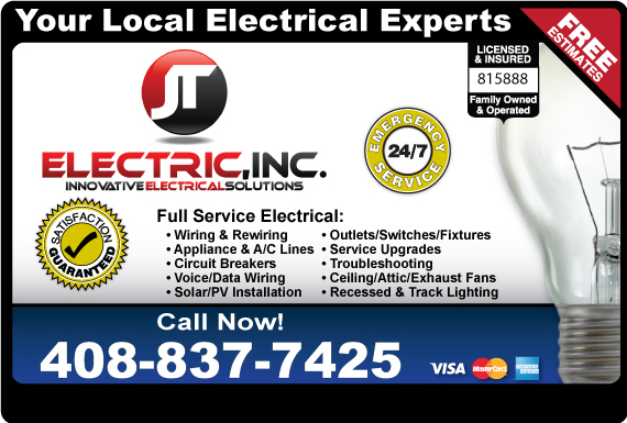 Exclusive Ad: J T Electric Morgan Hill 4082142490 Logo