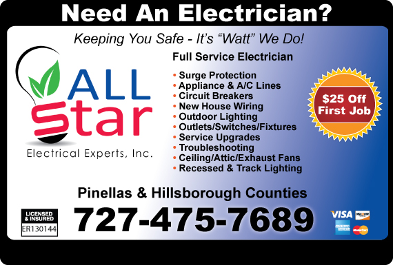 Exclusive Ad: Allstar Electrical Experts - 727 Saint Petersburg 7277557780 Logo