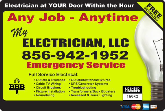 Exclusive Ad: My Electrician, LLC Medford 6096544911 Logo