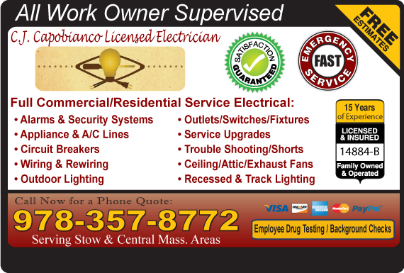 Exclusive Ad: C.J. Capobianco Licensed Electrician  9786200990 Logo