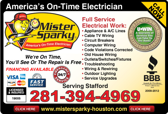 Exclusive Ad: Mister Sparky Electrical - Stafford  2813944969 Logo