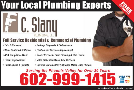 Exclusive Ad: C Slany Plumbing, LLC  6029991415 Logo