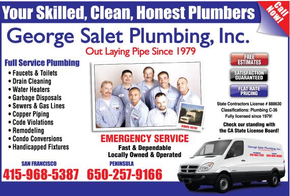 Exclusive Ad: George Salet Plumbing, Inc. Redwood City 6502414840 Logo