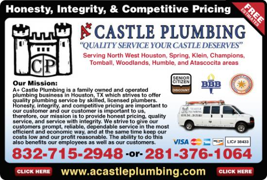 Exclusive Ad: A+ Castle Plumbing  8327152948 Logo