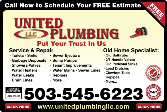 Exclusive Ad: United Plumbing LLC  5035456223 Logo