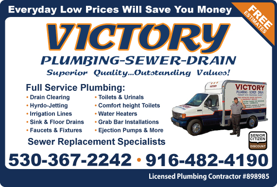 Exclusive Ad: Victory Plumbing, Sewer & Drain  9164824190 Logo