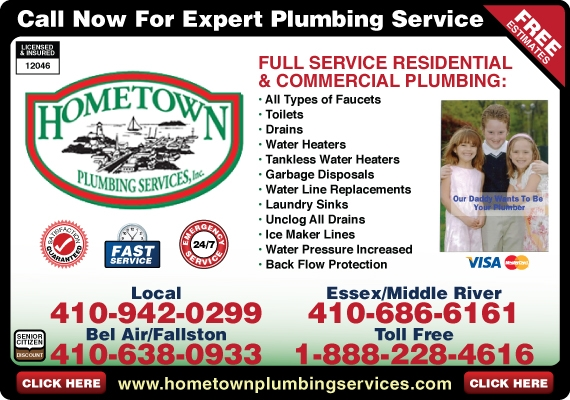 Exclusive Ad: Hometown Plumbing Services, Inc.  4109420299 Logo