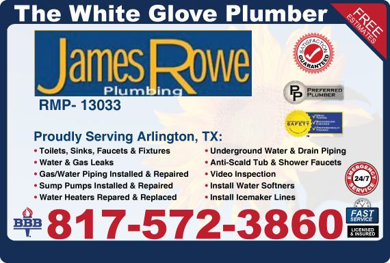 Exclusive Ad: James Rowe Plumbing  8175723860 Logo