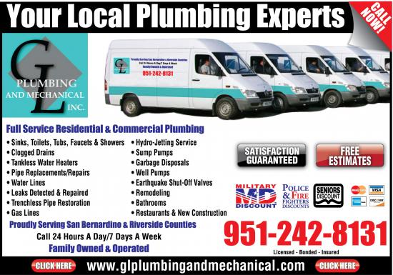Exclusive Ad: GL Plumbing & Mechanical Inc.  9512428131 Logo