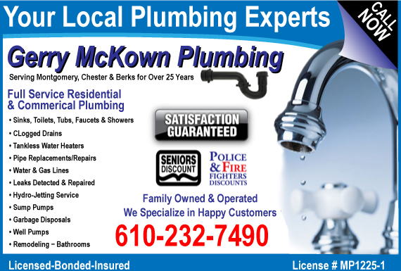 Exclusive Ad: Gerry McKown Plumbing  6102327490 Logo