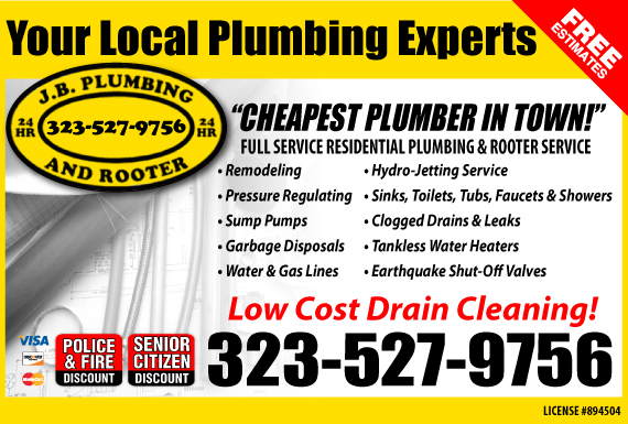 Exclusive Ad: J.B. Plumbing and Rooter Los Angeles 3235593053 Logo