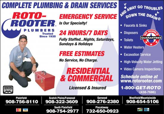 Exclusive Ad: 142-Roto-Rooter Plumbing & Drain Service  9087568110 Logo