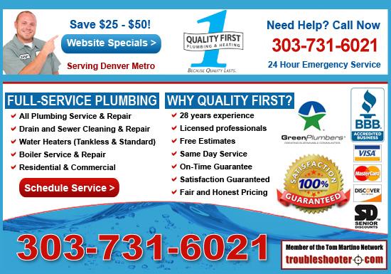 Exclusive Ad: Quality 1st Plumbing Aurora 3038729930 Logo