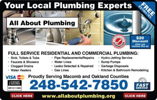 Exclusive Ad: 208-All About Plumbing  2485427850 Logo