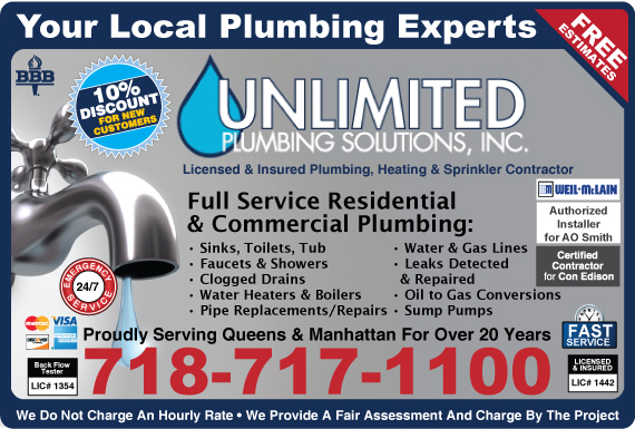 Exclusive Ad: Unlimited Plumbing Solutions, Inc.    7182298102 Logo